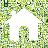 House symbol with environmental icons Stock Images