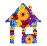 House symbol from flowers. Isolated on white Royalty Free Stock Image