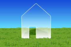 House symbol on a green lawn. An illustrated house-symbol in the middle of a lush green lawn Vector Illustration