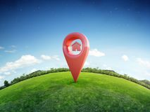 House symbol with location pin icon on earth and green grass in real estate sale or property investment concept, Buying new home. 3d illustration of big Royalty Free Stock Photos