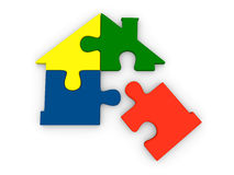 House symbol made of jigsaw pieces Royalty Free Stock Photos