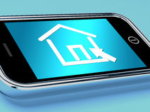 House Symbol On Mobile Screen Shows Real Estate Or Rentals Stock Images
