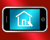 House Symbol On Mobile Shows Real Estate Or Rentals Stock Photography