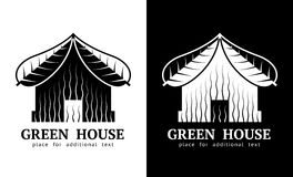 House symbol with roof of leaves Royalty Free Stock Images