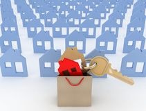 House symbol set and key in shopping bag Stock Photos