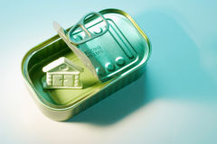 House Symbol in Tin Can Stock Photo