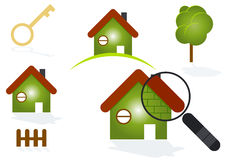 House symbols. A set of house symbols with green and red colors Royalty Free Stock Image