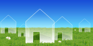House symbols on a green lawn. Illustrated house-symbols on a lush green lawn Stock Illustration