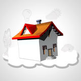 House and symbols. House with red roof and white cloud with simbols Royalty Free Stock Photo