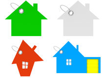 House tags. In four different colors: green, white, red and blue; 3d render Royalty Free Stock Photography