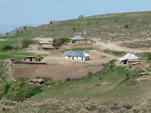 The house of the Tajik farmer. On a mountain slope on the road from Dushanbe to the Nurek Stock Photo