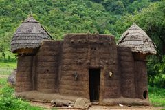 House of the tamberma in Togo, Unesco world heritabe. Traditionel tatienka near kara in togo at site of the unesco world heritage stock photos