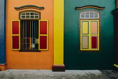 The house of Tan Teng Niah. Little India, Singapore – Feb 5, 2017: Little India's The house of Tan Teng Niah famous for its colourful exterior. The building Royalty Free Stock Photo