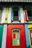 The house of Tan Teng Niah. Little India, Singapore – Feb 5, 2017: Little India's The house of Tan Teng Niah famous for its colourful exterior. The building Royalty Free Stock Images