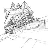 House: technical draw vector illustration