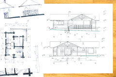 House technical drawings. Designer's hand drawing with house plan blueprints Stock Photos