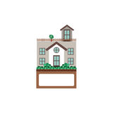 House with terrace and label Royalty Free Stock Photo