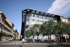 House of Terror, museum of dictatorship, war, persecution and to. Rture in Budapest. It was a jail during war, regimes and cold war stock images