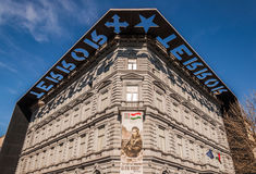 House of Terror or Terror Haza is a museum in Budapest, Hungary. BUDAPEST, HUNGARY - FEBRUARY 22, 2016: House of Terror or Terror Haza is a museum in Budapest Stock Images