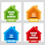 House text banner for the construction magazine. Web stickers. Template for catalog with space for text. House text banner for the construction magazine. Origami royalty free illustration