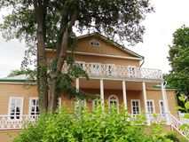 Typical old house of 19th century — historical and architectural monument in estate of Russian poet Lermontov. Travel to Russia. House of 19th century stock photography
