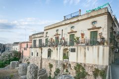 House in th old town of Syracuse, Sicily, Italy Stock Photo