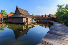 House thai in water. Water maket house thailand thai Stock Photos