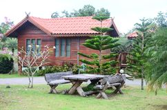 House Thailand style in forest on mountain Royalty Free Stock Photos