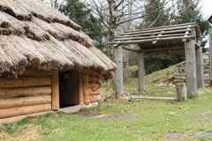 House with thatch roof in open-air museum Stock Images