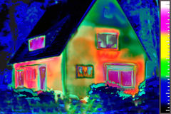 House Thermal Image. Thermal imaging of a house in a wooded area Stock Images