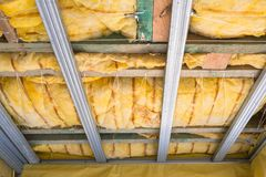 House thermal insulation. With mineral wool Stock Image
