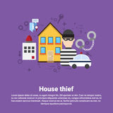 House Thief Security Protection Insurance Web Banner Royalty Free Stock Images