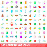 100 house things icons set, cartoon style. 100 house things icons set in cartoon style for any design vector illustration stock illustration
