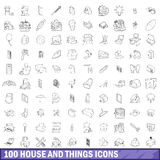 100 house and things icons set, outline style Stock Photo