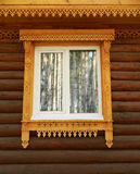 House thread, window, wood,teak,wooden,reflection. The cabin in the woods. the city of Tomsk,house thread Tomsk masters Stock Photos