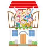 House and three-generation family Stock Images
