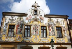 House at the Three Kings in Kutna Hora. View of the frescoes on the facade of the House of the Three Kings in Kutna Hora royalty free stock photos