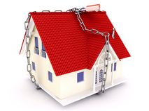 House tied a chain Royalty Free Stock Images