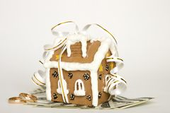 House tied with ribbon and money Stock Photo