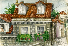 House with tiled roof. Small house with tiled roof in Dubrovnik, painted in watercolors Stock Photo