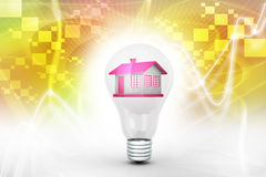 House in to the light bulb, ecology concept Royalty Free Stock Photo