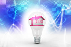 House in to the light bulb, ecology concept Royalty Free Stock Images
