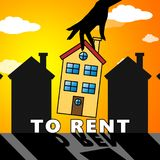 House To Rent Means Property Rentals 3d Illustration. House To Rent Meaning Property Rentals 3d Illustration Stock Images