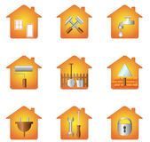 House and tools. Set icon of tools and silhouette of house Stock Photo