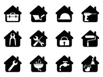 House with tools icon. Isolated black house with tools icon from white background Stock Photos