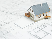 House on top of blueprints - Stock Image Royalty Free Stock Photos