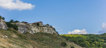 House on top of Chufut-Kale, the cave city near Bakhchisaray Stock Images
