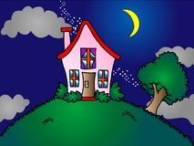 House on top of the hill. Old historic house on top of the hill at night, unnatural look Stock Photo