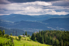 House at the top of mountain. In Cartatian Stock Image
