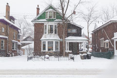 House in Toronto During a Snowstorm stock image